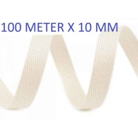 100 Meter Keperband LIcht Ecru 10 MM Breed