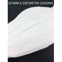 Visgraat Katoenen Keperband 10MM / 100M Wit