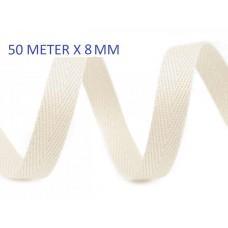 Keperband Licht Ecru 8 MM