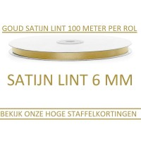 Satijn Lint Goud 6 MM X 100 Meter
