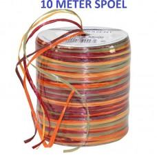 Raffia Lint Bordeaux Oranje 10 Meter