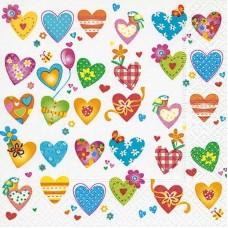 Servet Kleurrijke Harten