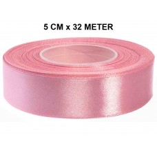 Heide Roze Satijn Lint 50 MM Rol 32 Meter