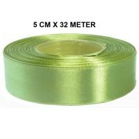 Licht Kaki Groen Satijn Lint 50 MM Rol 32 Meter