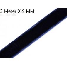 Donker Blauw 9 MM X 3 Meter Fluweel Lint