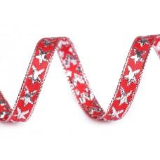 Rood Kerstlint met Sterren 10 mm X 45 Meter