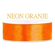 Neon Oranje Satijn Lint 25 mm