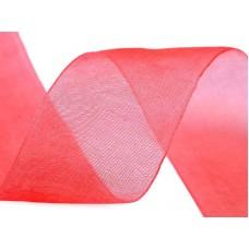 Organza lint koraal rood 40 mm