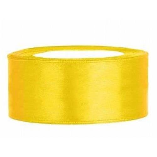 Geel lint 25 mm 25 meter satijnlint op rol - Geel fluweel ...