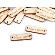 """Ivoorkleurig label  """"hand made"""""""