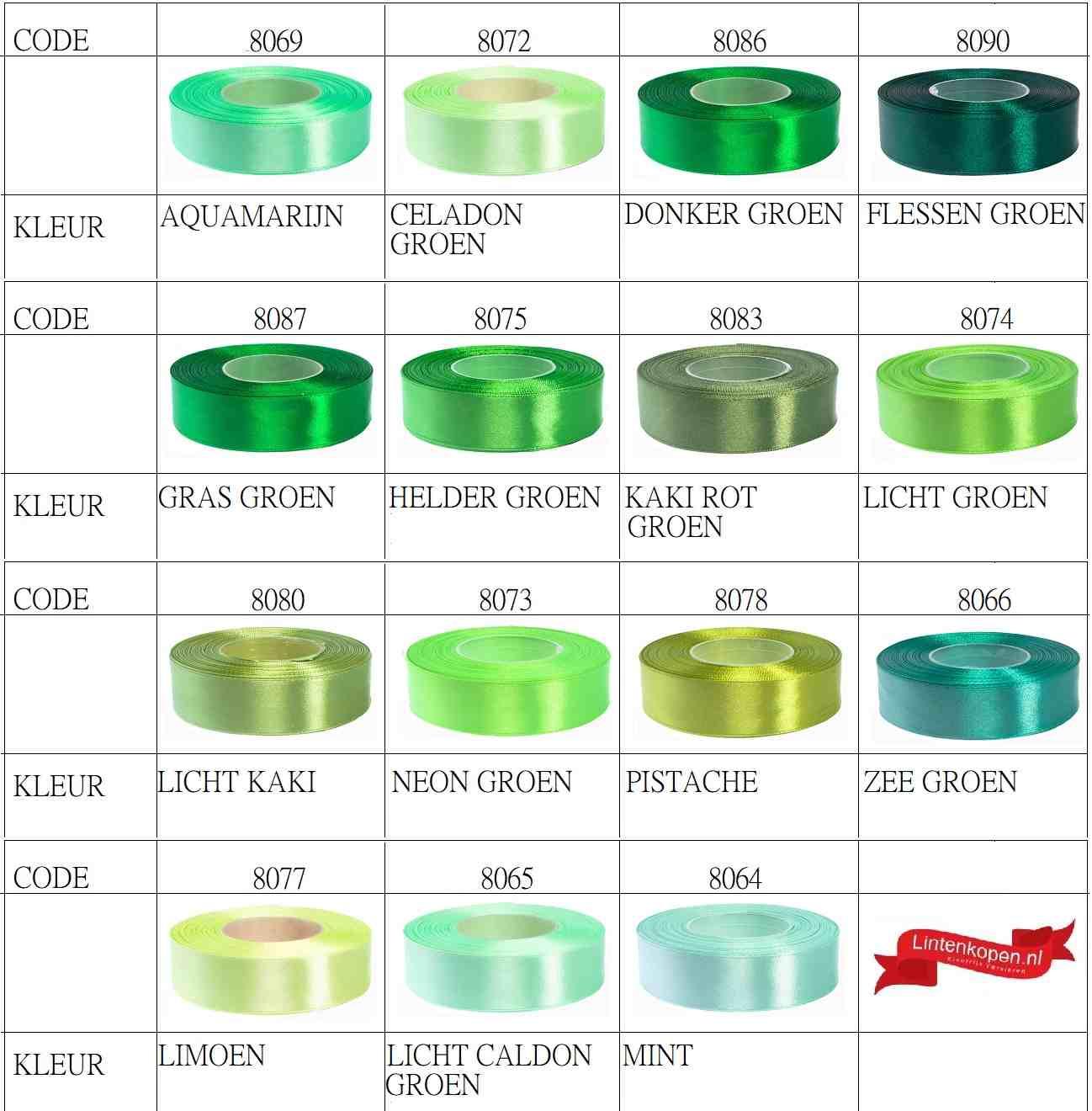 groene satijn linten