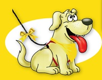 geel lint hond